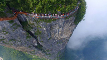 Would you brave the 4, 6000ft cliffside glass skywalk?